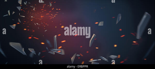 Picture presenting numerous pieces of smashed wall - Stock Image