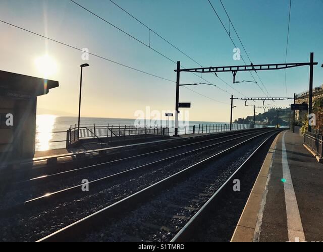 Railway track in Switzerland - Stock Image