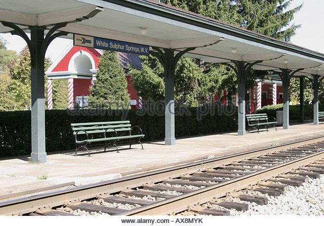 West Virginia White Sulphur Springs Train Depot Amtrak train station - Stock Image