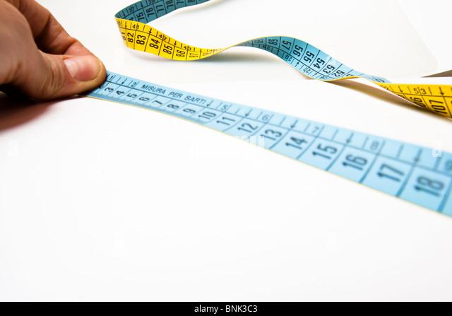 centimeter mesaurements diet concept cm centimetres metres decimal - Stock Image