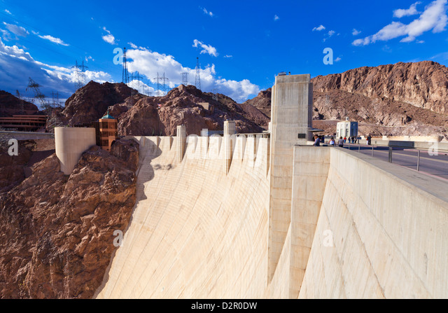 Hoover Dam wall, Boulder City, Nevada, United States of America, North America - Stock Image