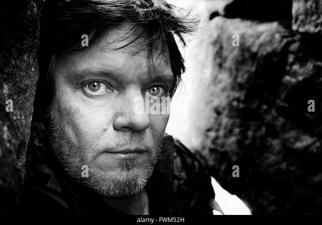Portrait Of Man With Stubble - Stock Image
