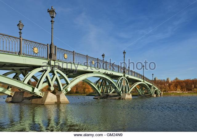 Openwork bridge in Tsaritsyno park. State historical-architectural, art and landscape museum-reserve, which is located - Stock Image