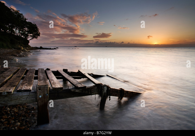 Old jetty, Priory Bay, Isle of Wight - Stock Image