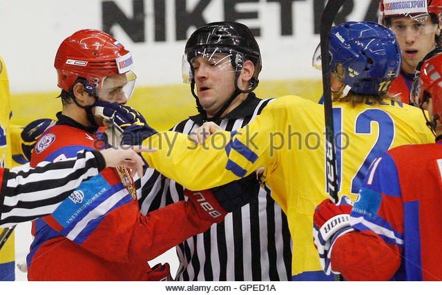 Sweden's Dennis Rasmussen (R) scuffles with Russia's Nikita Filatov during the first period of play at the - Stock Image