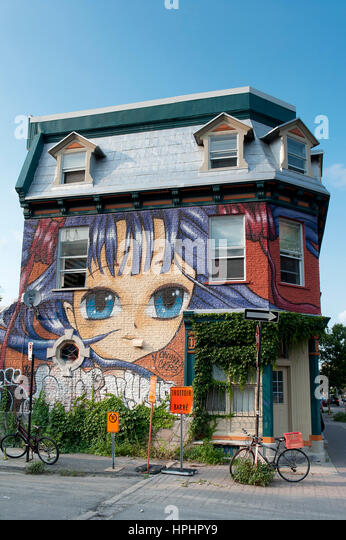 Canada. Province of Quebec. Montreal. Plateau Mont Royal district. House in Saint Laurent Boulevard - Stock Image
