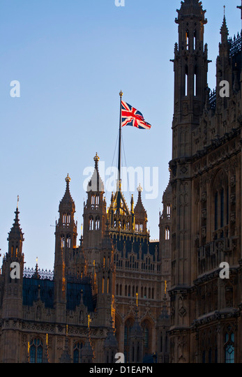 Union Jack on the Houses of Parliament. Westminster, London. England, United Kingdom, Europe - Stock Image