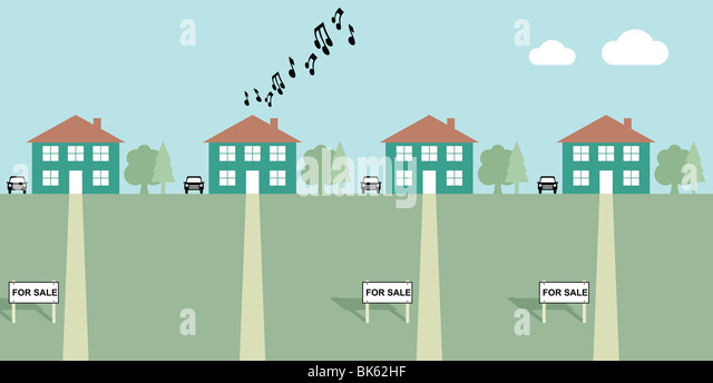 House playing load music with neighbours for sale signs - Stock Image