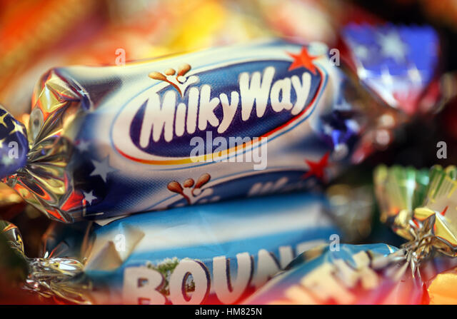 Milky Way close up from the Celebrations box of chocolates - Stock Image