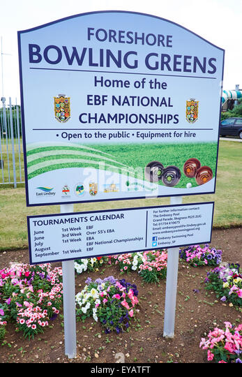 Foreshore Bowling Green Sign Home To The EBF National Championships North Parade Skegness Lincolnshire UK - Stock Image