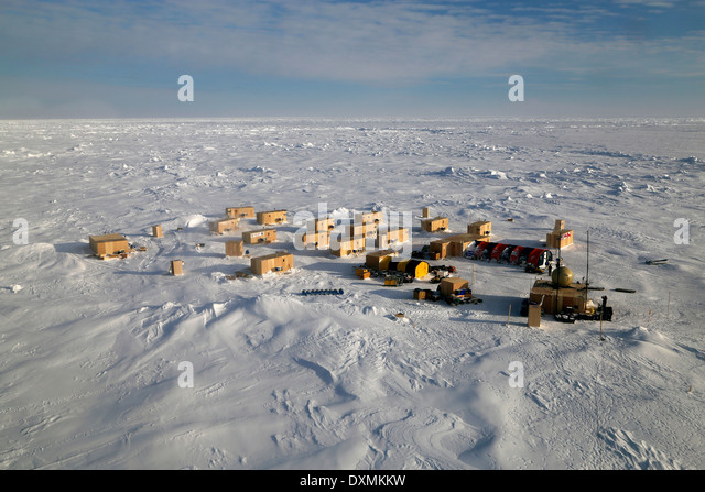 Aerial view of the US Navy Ice Camp Nautilus built on a sheet of ice adrift on the Arctic Ocean during ICEX 2014 - Stock Image