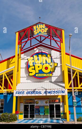 Fun Spot Orlando Action Park entrance sign off International Drive, Orlando Florida - Stock Image