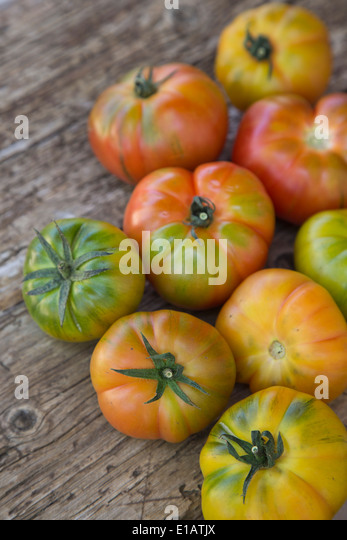 colourful group of Spanish grown Raf striped tomatoes on wooden rustic board - Stock Image