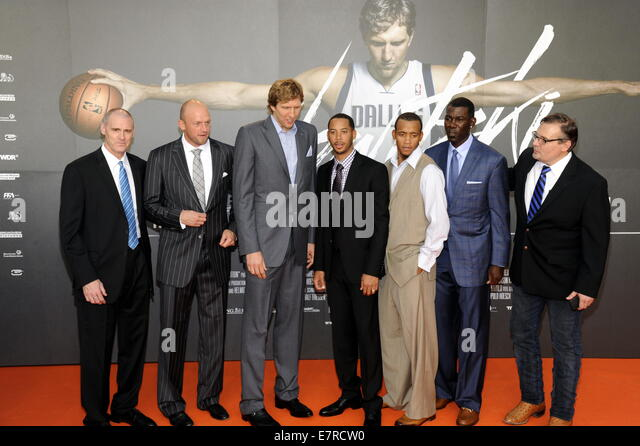 Cologne, Germany. 16th Sep, 2014. NBA coach Rick Carlisle (L-R), NBA player Brian Cardinal, Dirk Nowitzki, Devin - Stock Image