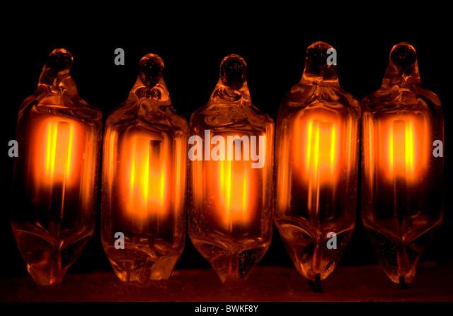 Five Small Neon Light Bulbs - Stock Image