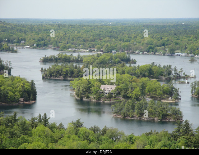 thousand island island river nature america forest - Stock Image