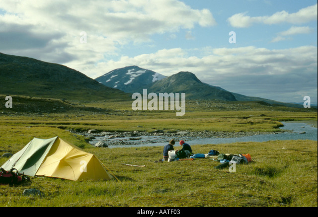 Camping in the Ruotesvagge valley with Mount Kisuris beyond, Sarek National Park, Lappland, Norrbottens Län, - Stock Image