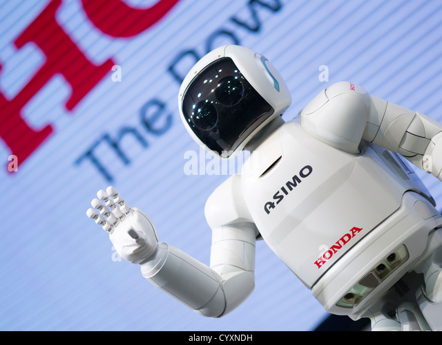 Honda's ASIMO robot at the Honda Welcome Plaza, Aoyama, Tokyo A.S.I.M.O. = Advanced Step in Innovative Mobility - Stock Image