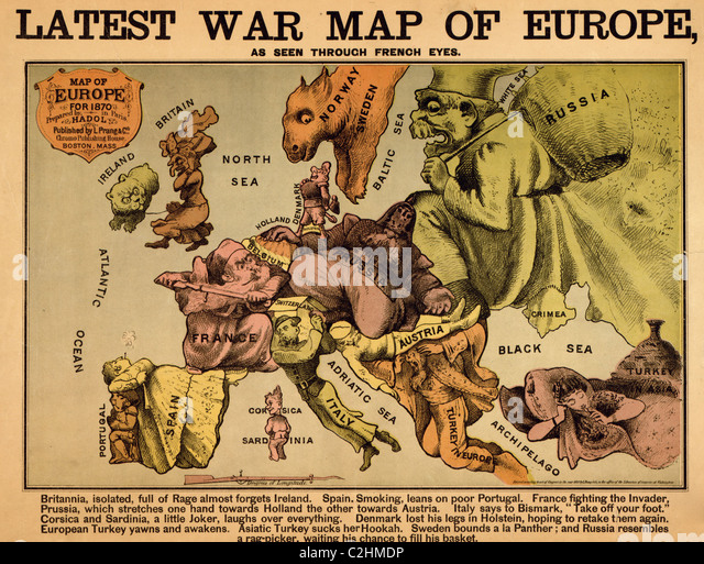 Anthropomorphic Map of Europe - 1870 - Political - Stock Image