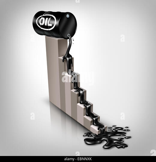 Oil price falling concept as a barrel of crude petroleum spilling down on a financial chart as a symbol for declining - Stock Image