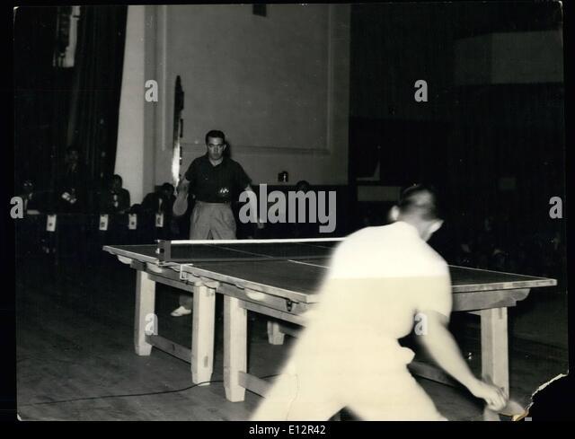 Feb. 24, 2012 - Pan-Pacific table tennis tourney: Kenneth Adamson of Australia playing against Tadaaki Hayashi. - Stock Image