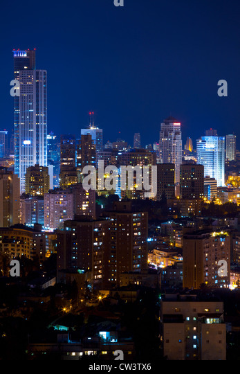 Tel Aviv and Ramat Gan Skyline at night - Stock Image