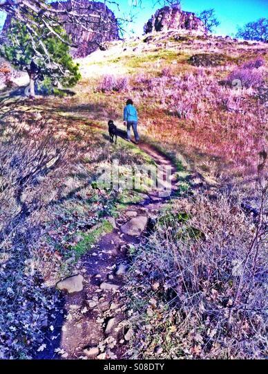 Woman hiking - Stock-Bilder