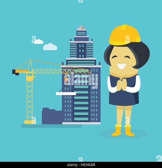 Female Engineer and Building Construction. Female engineer and a building construction. Young successful happy architect - Stock-Bilder