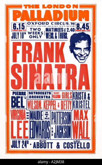 FRANK SINATRA Poster for his July 1950 shows at the London Palladium - Stock Image