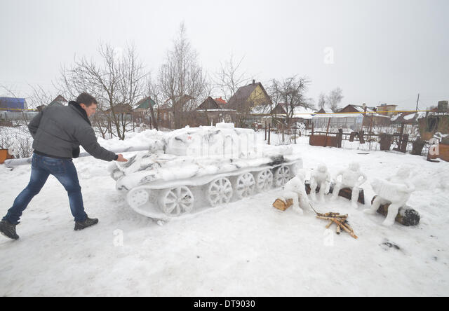Tambov, Russia. 12th Feb, 2014. The other day two Tambovs friend - Mihail Holoburdin and Silt Borisov blinded from - Stock Image