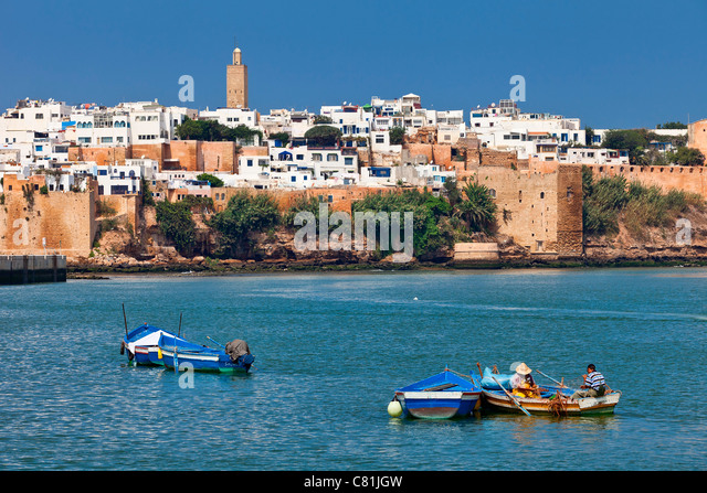 Morocco, Rabat, Bou Regreg River and the Kasbah des Oudaias - Stock Image