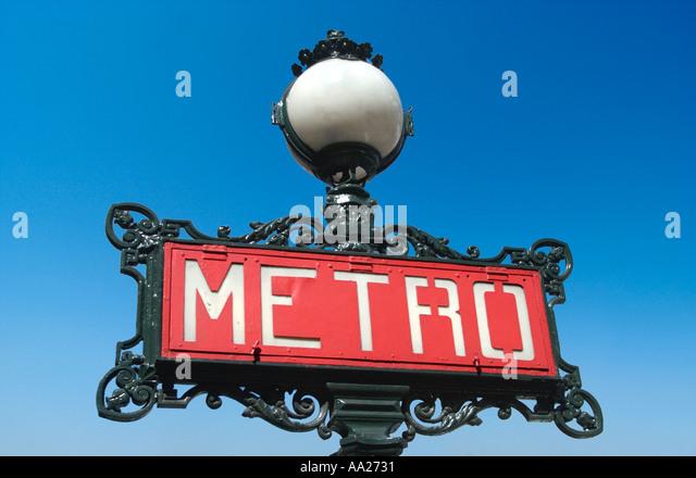 Paris Metro sign, France. Travel. - Stock-Bilder