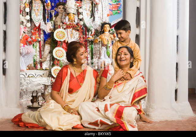 Family in a temple - Stock Image