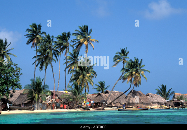 PANAMA San Blas Islands Cuna Indian Village - Stock Image