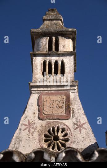 Portugal Algarve Alte Rua Poeta Candido Guerreira Moorish style chimney built 1832 - Stock Image