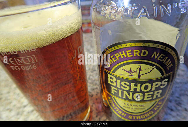 Glass of Bishops Finger Ale - Stock Image