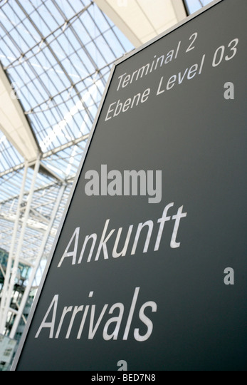 Sign, arrivals at Terminal 2 in Munich Airport, Franz-Josef-Strauss Airport, Munich, Bavaria, Germany, Europe - Stock-Bilder
