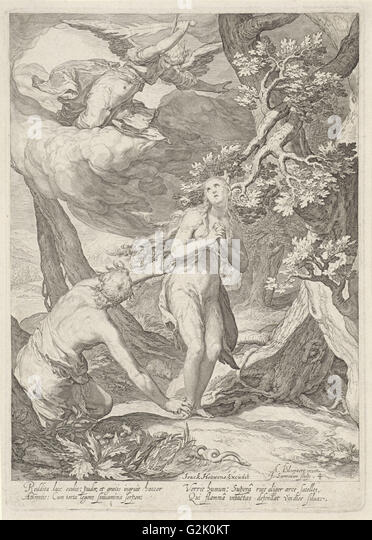 Adam and Eve are expelled by the angel with the flaming sword of the Earthly Paradise, besides them a crawling snake - Stock Image