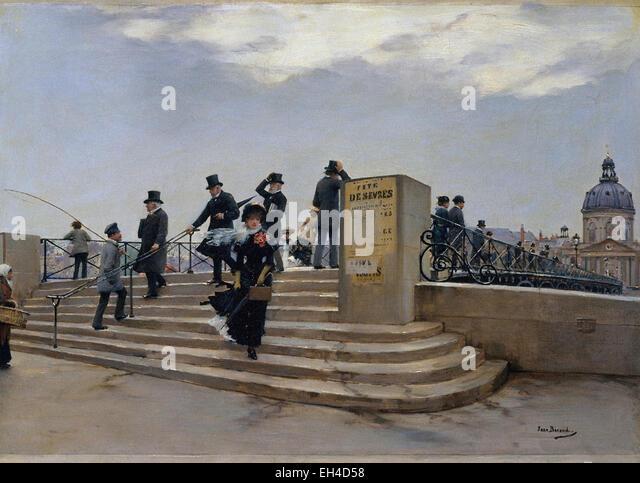Jean Béraud  A Windy Day on the Pont des Arts - Stock-Bilder