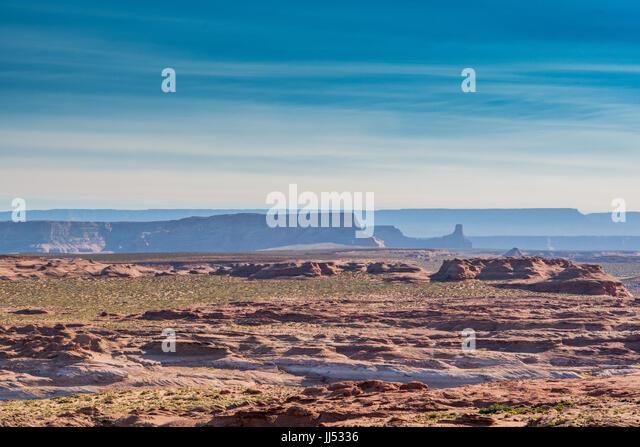 Layers of Desert Ridges behind flat desert terrain - Stock Image