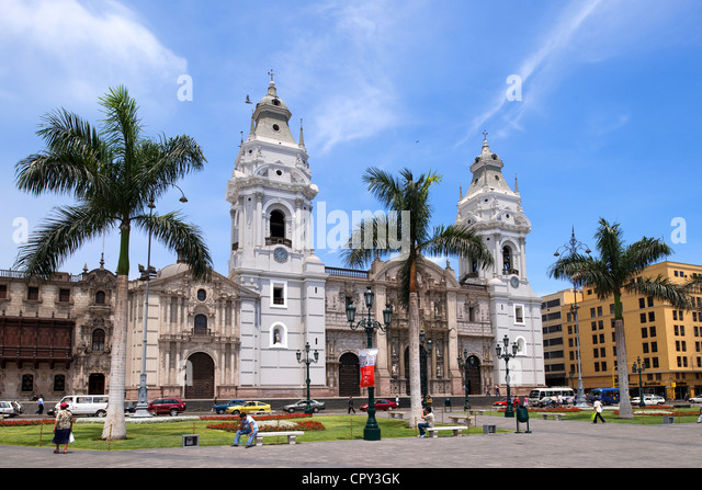 Peru Lima historical center listed as World Heritage by UNESCO Plaza de Armas Baroque architecture Cathedral built - Stock Image