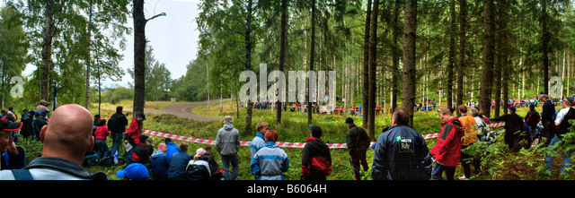 Panorama view of rally spectators - Stock Image