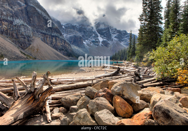 Morraine Lake, Valley of Ten Peaks, Banff National Park, Alberta, Canada - Stock Image
