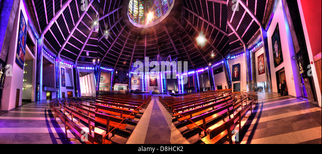 Liverpool Catholic Cathedral Interior, Merseyside England UK as a Panorama - Stock Image