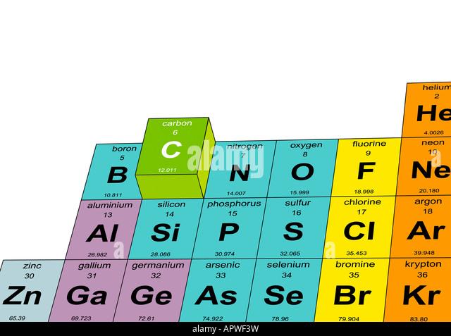 Carbon Raised Periodic Table Illustration - Stock Image