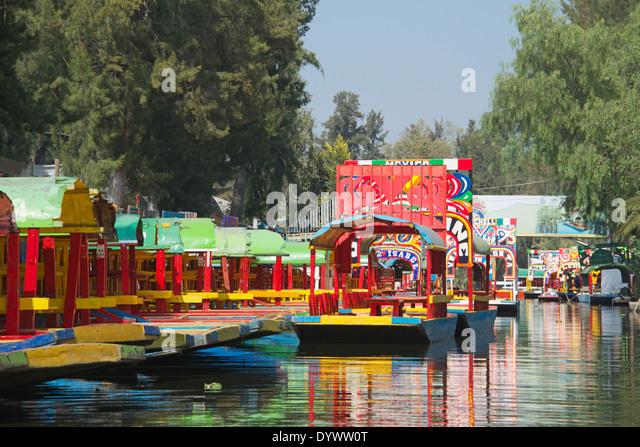 Colourful empty boats Xochimilco Mexico City Mexico - Stock Image
