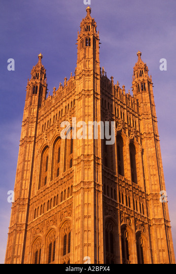 Europe Great Britain United Kingdom UK London England Victoria's Tower at Dusk - Stock Image