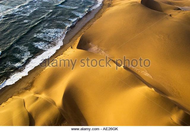 Atlantic Ocean Meets Namibian Desert. Sossusvlei, Namibia - Stock Image