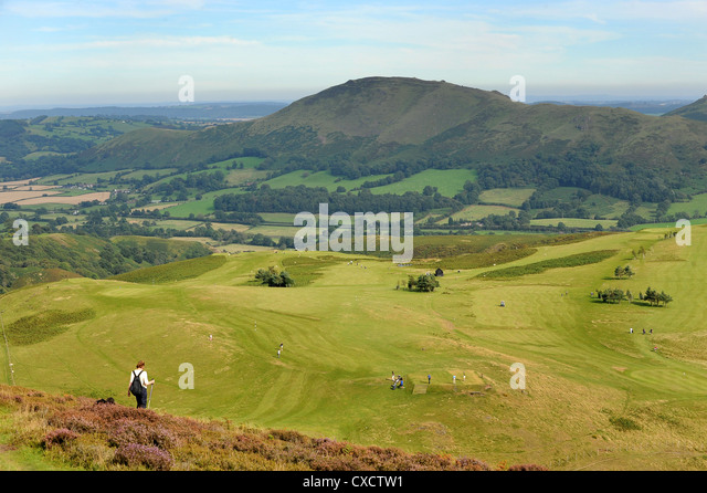 Church Stretton golf course on the Long Mynd Shropshire England Uk - Stock Image