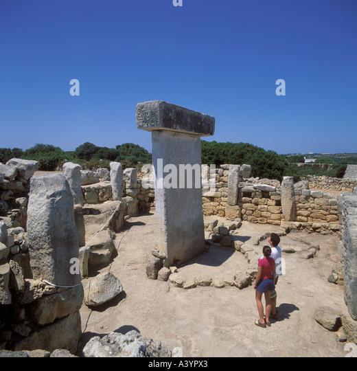 Prehistoric taula at Torralba d en Salord near Cala en Porter Menorca Baleares Spain - Stock Image
